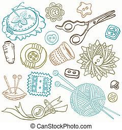 alapismeretek, varrás, -, kéz, vektor, tervezés, doodles, húzott, felszerelés
