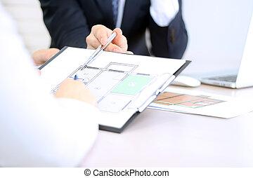 alaprajzok, épület, businessman., real-estate, kiállítás, ügynök