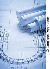 alaprajzok, épület, szerkesztés, építészet, fogalom, tekercselt