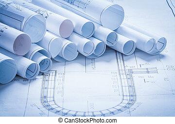 alaprajzok, épület, szerkesztés, változatosság, architectur, tekercselt