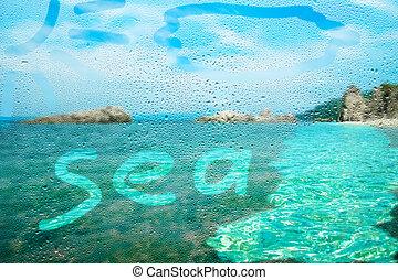 alaprajzok, körülbelül, ablak, háttér, ködös, tenger