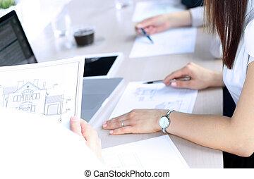 alaprajzok, real-estate, épület, kiállítás, ügynök, businessman.