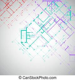 alaprajzok, szürke háttér, vektor, építészeti