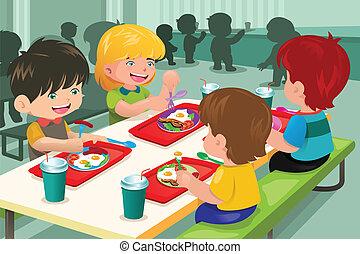 alapvető, diákok, eszik löncs, alatt, önkiszolgáló étterem