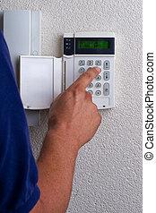 alarm, aktivera, touchpanel