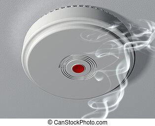 alarm, aktivieren, rauchwolken