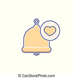 Alarm, alert, bell icon, call, heart, notification sign, ring icon