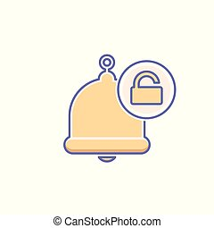 Alarm, alert, bell icon, call, notification sign, ring, unlock icon