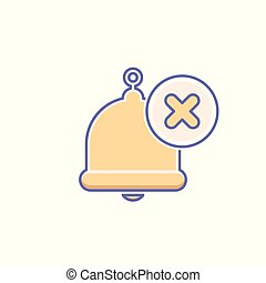 Alarm, alert, bell icon, call, notification sign, ring, x icon