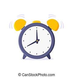 Alarm analog clock face flat style design vector illustration icon sign isolated on white background.