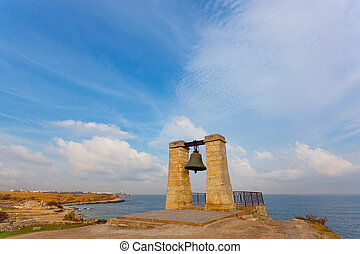 Alarm ancient bell on the bank of the Black Sea, Chersonese, Sevastorpol.
