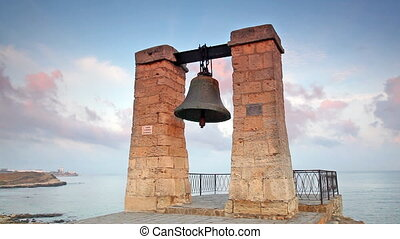 Alarm ancient bell on the bank of the Black Sea, Chersonese,...