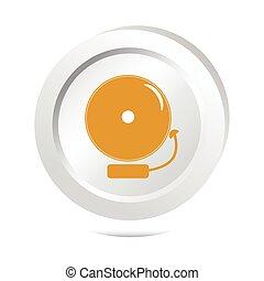 Alarm bell button, warning sign illustration