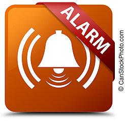 Alarm (bell icon) brown square button red ribbon in corner