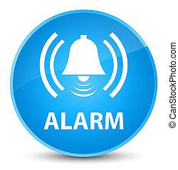 Alarm (bell icon) elegant cyan blue round button
