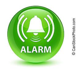 Alarm (bell icon) glassy green round button