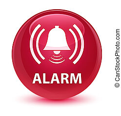 Alarm (bell icon) glassy pink round button
