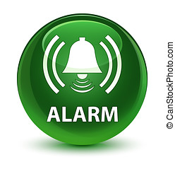 Alarm (bell icon) glassy soft green round button