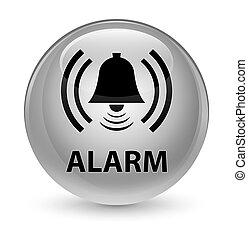 Alarm (bell icon) glassy white round button