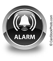Alarm (bell icon) glossy black round button