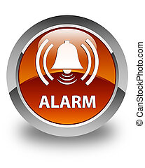 Alarm (bell icon) glossy brown round button