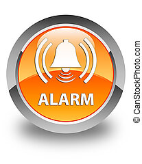 Alarm (bell icon) glossy orange round button