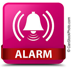Alarm (bell icon) pink square button red ribbon in middle
