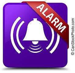 Alarm (bell icon) purple square button red ribbon in corner