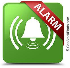 Alarm (bell icon) soft green square button red ribbon in corner