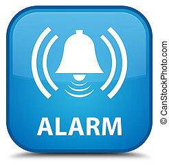 Alarm (bell icon) special cyan blue square button
