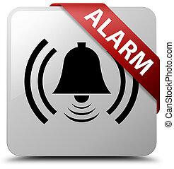 Alarm (bell icon) white square button red ribbon in corner