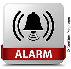 Alarm (bell icon) white square button red ribbon in middle