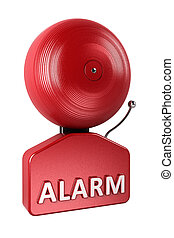Red fire alarm bell over white background