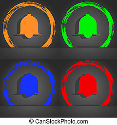 Alarm bell sign icon. Wake up alarm symbol. Speech bubbles information icons. Fashionable modern style. In the orange, green, blue, red design.