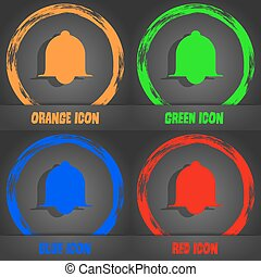 Alarm bell sign icon. Wake up alarm symbol. Speech bubbles information icons. Fashionable modern style. In the orange, green, blue, red design. Vector