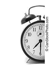 alarm, biały, na, zegar, odizolowany