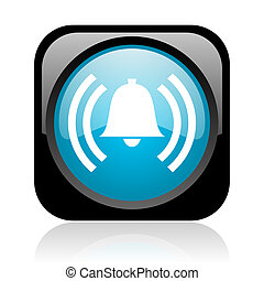 alarm black and blue square web glossy icon
