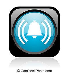 alarm black and blue square web glossy icon