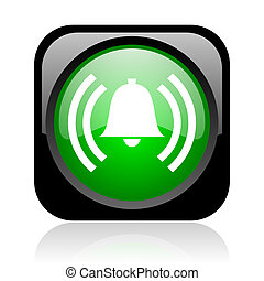 alarm black and green square web glossy icon