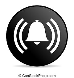 alarm black circle web glossy icon