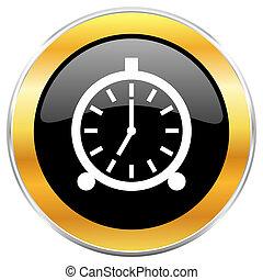 Alarm black web icon with golden border isolated on white ...