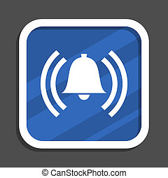 Alarm blue flat design square web icon