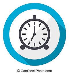 Alarm blue flat design web icon