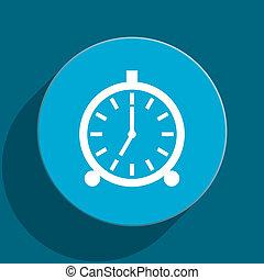 alarm blue flat web icon