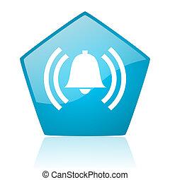alarm blue pentagon web glossy icon