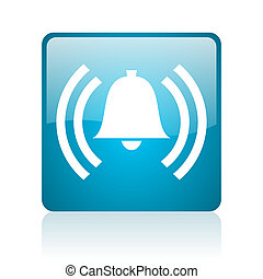 alarm blue square web glossy icon