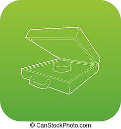 Alarm button icon green vector