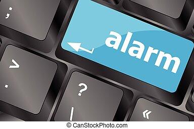 alarm button on a black computer keyboard. Keyboard keys icon button vector