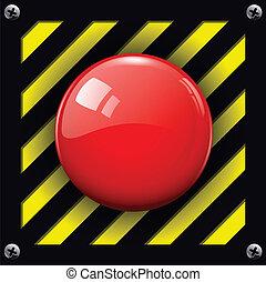 alarm  button - Red alarm shiny button background, vector.