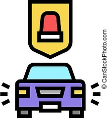 alarm car protect device color icon vector illustration